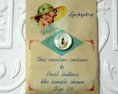 Lucky Day Pearl Buttons in Paper Holder-Vintage Buttons
