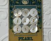 Vintage Pearl Button Card, Sewing Notion, Mother of Pearl