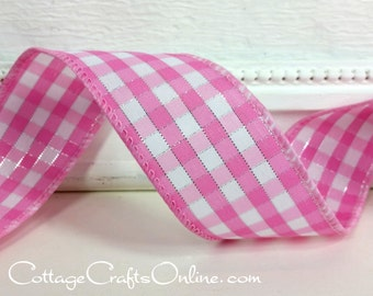 "Wired Ribbon, 1 1/2"", Pink White Silver Metallic Gingham Check Plaid - TEN YARDS - Offray, ""Addison"" Spring, Easter, Wire Edged Ribbon"