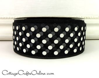 "Ribbon, 1 1/2""  White Polka Dots, Black Sheer - TWENTY YARD ROLL -  Wedding, New Year Craft Ribbon, Sewing Trim #70401"