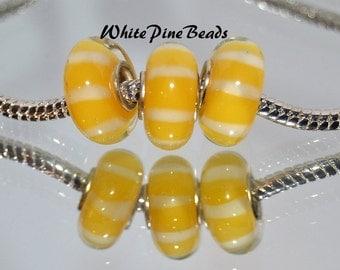 Creamy Yellow with White Stripes  Murano Glass Bead Fits European Charm Bracelets