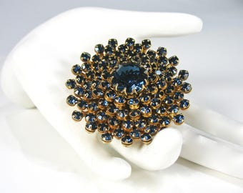 """1950's Rhinestone Brooch, Blue Rhinestones, Prong Set, 2"""", Large Round Brooch, Gold Tone, High Quality, Evening Wear, Gift Idea, Excellent"""