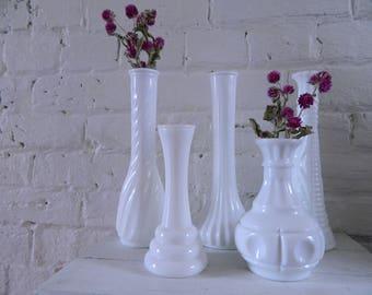 Vintage Milk Glass Bud Vases - Set Of 5