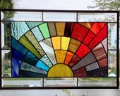 Custom listing for KL Beveled stained glass window panel rainbow arch geometric 17 1/2 x 11 1/2