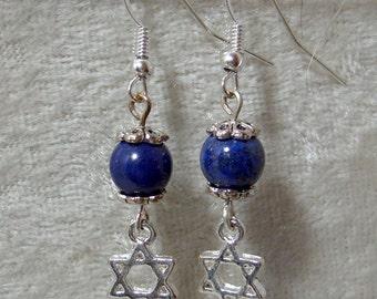 Star of David Earrings - Lapis Lazuli
