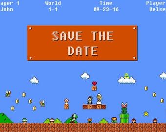 Mario Save the Date, Wedding, Nerd, Gamer