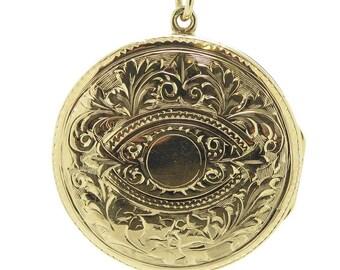 Antique Gold Locket, Hand Engraved, Hallmarked Birmingham 1919