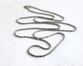 Sterling Silver Rope Chain 32 Inch 2mm Necklace Vintage Italian Silver Long Jewelry