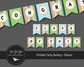 Graduation Bunting Banner - Congratulations Class of 2017 - Pastel Rainbow, Chevron, Polka Dot - Printable YOU PRINT
