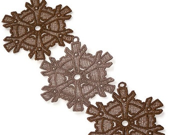 Lace Steampunk Snowflakes--Set of 3