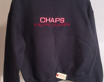 Vintage Chaps Ralph Lauren Red, White and Blue USA Spell-Out Crewneck Sweatshirt (Size M)