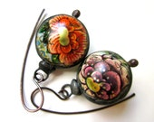 RESERVED -Don't Let Anybody Tell You Different -primitive vintage soldered melon pink peony gold floral tin hollow bauble black metal earrin