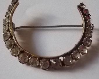 Vintage  Victorian Paste  Half Moon Horseshoe Brooch Pin -  PRETTY