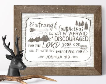 Kids Decor - Rustic Nursery Decor - Boys Room Decor - Childrens Wall Art - Joshua 1 9 - Be Strong And Courageous - Scripture Art - Baby Room