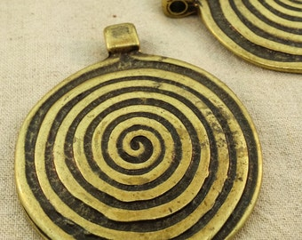Large focal brass spiral pendant