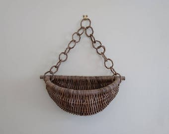 Hanging Wicker Wall Basket, Wall Pocket, Wicker Plant Basket