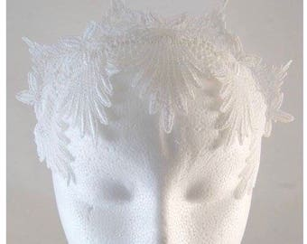 White Lace Crown Headband