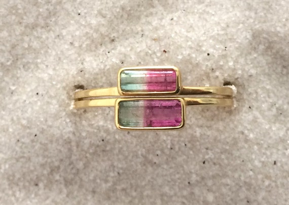 Watermelon tourmaline horizon wedding ring set in solid 18k gold