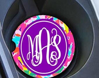 Monogram Car Coaster set, Personalized Car Coaster, Lilly Pulitzer Inspired, Cup Holder Coasters Flamingo