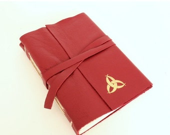 ON SALE Red Leather Journal Sketchbook with Gilded Triquetra
