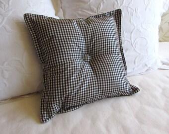 black check silk Toss Lumbar Accent Pillow 10x16 decorative throw