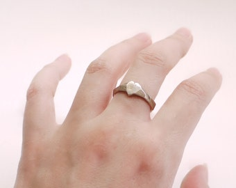 minimal heart ring, rustic- Faceted Heart Ring in Stainless Steel - Modern Design 3D Printed. Ready to ship Valentines