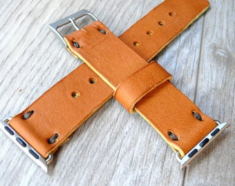 Leather Apple Watch band 42mm leather watch band, Apple watch strap, iwatch band, apple watch leather band, light brown apple watch strap
