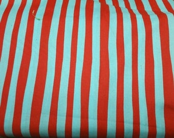 Dr Seuss celebrate seuss for Robert Kaufman thick and bright red and turquoise blue stripe