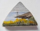 Yellow flower clifftop Ireland - Original miniature painting on sea pottery