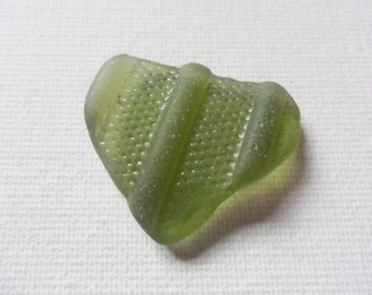 Stunning forest green textured pendant shape sea glass - Lovely northumberland English beach find piece