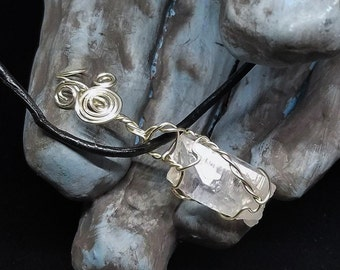 Silver Wire Wrapped Raw Clear Quartz Gemstone on Black Cord Leather Necklace