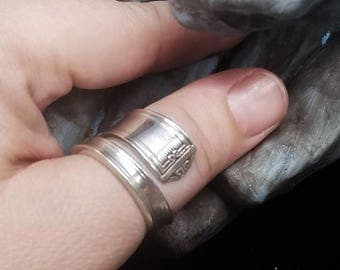 "OOAK Silver Spoon Ring Size 10 - Greek Design - Inside Out - Reversed - ""M"" Stamped - Silver Plated - Silver Spoon Ring - Thumb Ring"