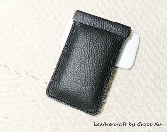 100% handmade, hand stitched black cowhide leather flex frame cell / iphone / MP3 /  pouch / holder / case