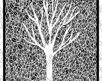Tree and Leaves Silhouette Instant Download, Black and White Minimalist, PDF JPG PNG