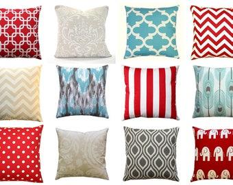 CLEARANCE Throw Pillow Covers, Spirit Blue Pillow, Beige Pillow, Lipstick Red Pillow, 16x16 Zippered Pillow, Pillow Case, Mix and Match SALE