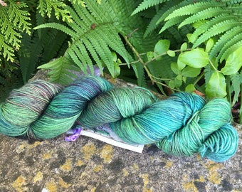 """100grms hand painted merino/nylon / cashmere  yarn """"winter forest   """" """""""