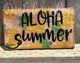 Aloha summer pineapple sign| hello summer| pineapple sign| rustic summer wood sign| rustic pineapple| distressed pineapple| aloha rustic