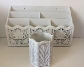 White Ornate Desk Organizer Pencil Holder -  Distressed - Home Office Decor -  Shabby Cottage Chic - Girls Room Letter Holder - Bills Mail