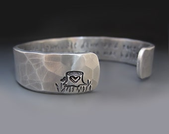 Silver Giving Tree Bracelet / Shel Silverstein / Graduation Gift / 1/2 inches wide / Mother's Day Gift / Gifts for Her / The Giving Tree