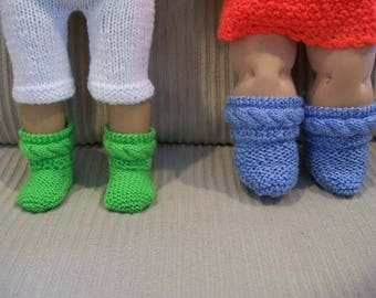 102) Slipper/Booties for Dolls Knit Hand Made Dolls ANY 10 15 or 18 Inch Dolls Doll Clothes Cable Pattern Fun Fur Lace Pattern OR Mom and Me