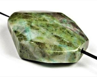 Luscious African Green Turquoise Jasper Octagonal Freeform Pendant - 30mm x 24mm x 9mm - B6130