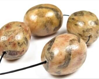 SUPER Double SALE - were 6.99 & 5.49 - Madagascar Zebradorite Brown Amazonite Smooth Pebble Nugget Bead - 22 mm x 15.5 mm - 4 Pieces - B7202
