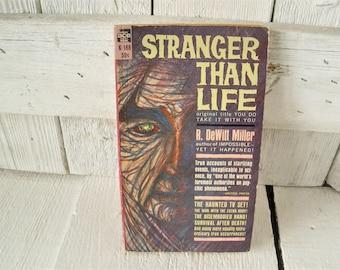 Vintage supernatural book Stranger Than Life retro color cover paperback 1955