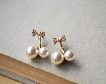 Gold Bow Double Pearl Ear Jacket Earrings