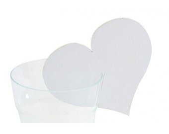 Glasses Hearts White 12 pcs