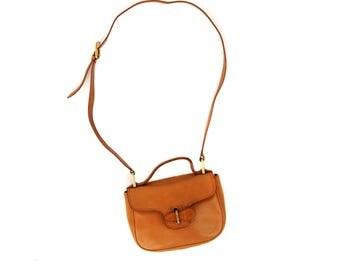 Vintage 1980's Light Brown Tan Leather Top Handle Long Crossbody Strap Satchel Handbag Purse