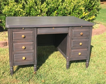 SOLD ** Vintage Chic Aged Black Large Desk