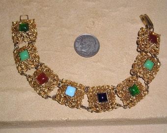 Vintage Multicolored Square Glass Cabochon Bracelet 1960's Jewelry 10009