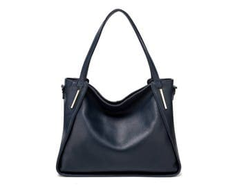 Large slouchy navy blue leather tote bag
