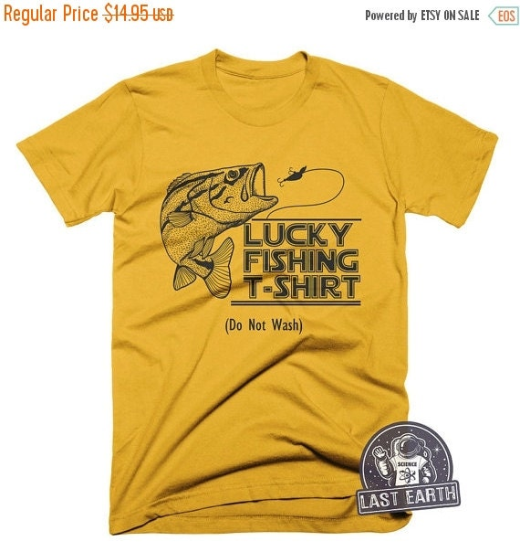 On sale lucky fishing t shirt fishing tees hunting by for Fishing shirts on sale